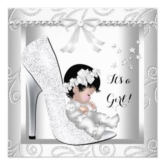 Baby Shower Girl Silver Gray White Diamond Shoe 5.25x5.25 Square Paper Invitation Card
