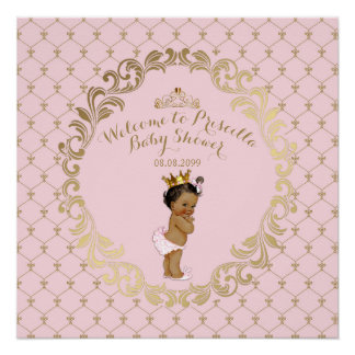 Baby Shower GIRL,Soft pink & gold,royal background Poster
