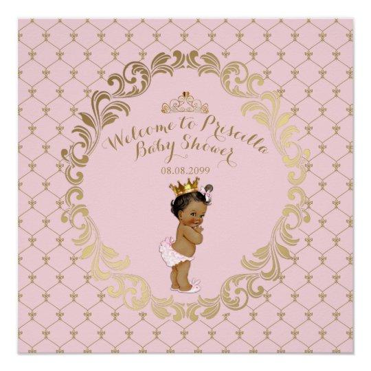 Baby Shower GIRL,Soft Pink U0026 Gold,royal Background Poster