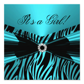 Baby Shower Girl Teal Blue Black Lace Zebra 2 5.25x5.25 Square Paper Invitation Card