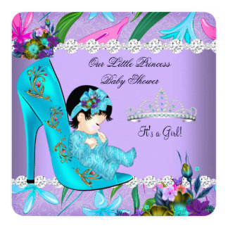 Baby Shower Girl Teal Purple Floral Shoe Card