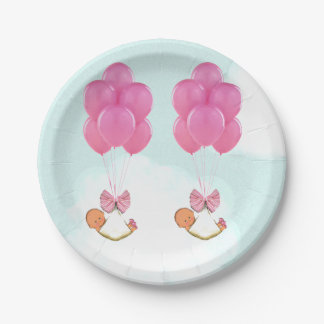 baby shower girl twins decorations paper plate