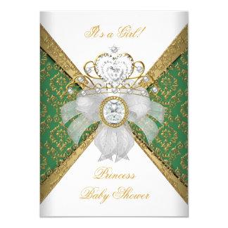 Baby Shower Girl White Green Princess Damask Card