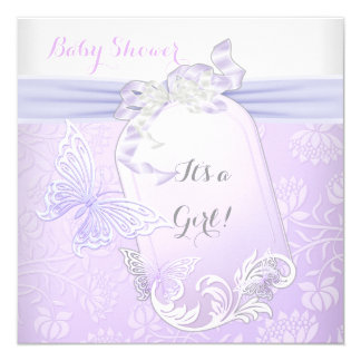 Baby Shower Girl White Lilac Princess Butterfly 2 5.25x5.25 Square Paper Invitation Card