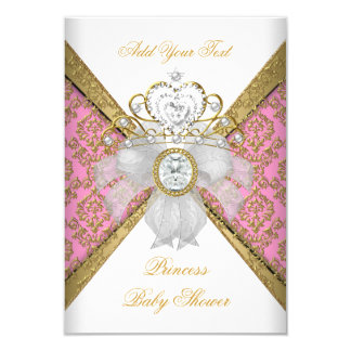 Baby Shower Girl White Pink Princess Damask 3.5x5 Paper Invitation Card