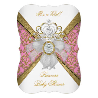 Baby Shower Girl White Pink Princess Damask B Announcements
