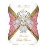 "Baby Shower Girl White Pink Princess Damask B 5"" X 7"" Invitation Card"
