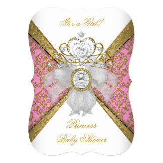 "Baby Shower Girl White Pink Princess Damask B 5"" X 7"" Invitation Card"