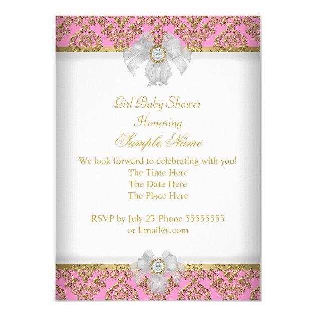 shower girl white pink princess damask invitation, Baby shower invitations