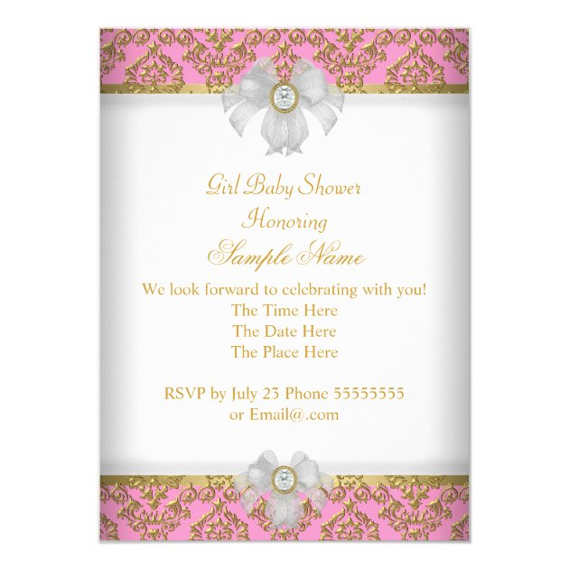 baby shower girl white pink princess damask card | zazzle,