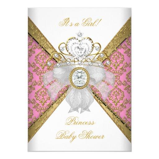 Baby Shower Girl White Pink Princess Damask Card