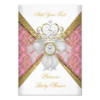 Baby Shower Girl White Pink Princess Damask 3.5x5 Paper Invitation Card