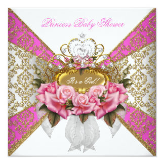 Baby Shower Girl White Pink Princess Damask Rose 2 Card