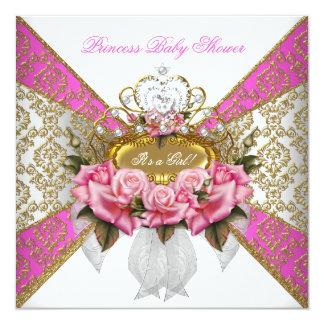 Baby Shower Girl White Pink Princess Damask Rose 2 5.25x5.25 Square Paper Invitation Card