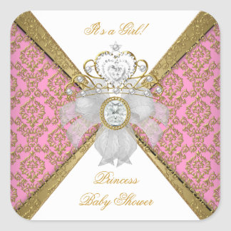 Baby Shower Girl White Pink Princess Damask Square Sticker