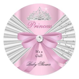 Baby Shower Girl White Pink Princess Tiara ab Card