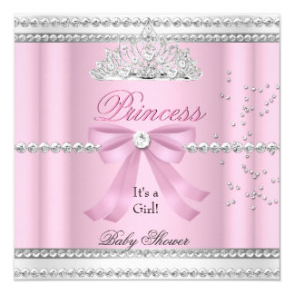 Baby Shower Girl White Pink Princess Tiara Bow 5.25x5.25 Square Paper Invitation Card
