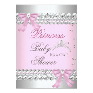 Baby Shower Girl White Pink Princess Tiara Gem 2 Announcement