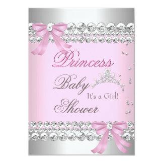 "Baby Shower Girl White Pink Princess Tiara Gem 2 4.5"" X 6.25"" Invitation Card"