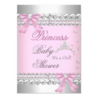 Baby Shower Girl White Pink Princess Tiara Gem 2 4.5x6.25 Paper Invitation Card