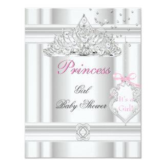 Baby Shower Girl White Pink Princess Tiara 4.25x5.5 Paper Invitation Card