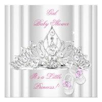 Baby Shower Girl White Pink Princess Tiara Personalized Invite
