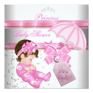 Baby Shower Girl White Pink Princess Tiara Announcement