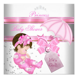 Baby Shower Girl White Pink Princess Tiara 5.25x5.25 Square Paper Invitation Card