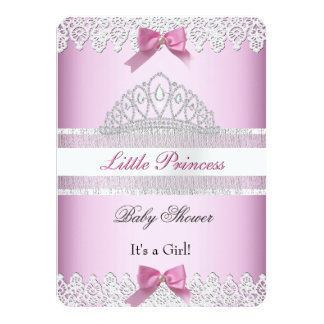 Baby Shower Girl White Pink Princess Tiara Lace Invite