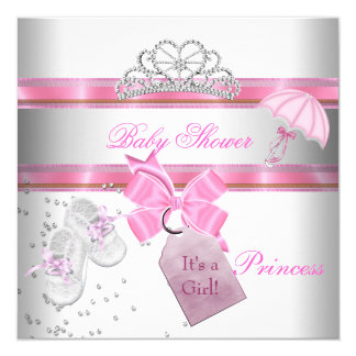 Baby Shower Girl White Pink Princess Tiara Magical Card