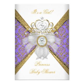 Baby Shower Girl White Purple Princess Damask Card