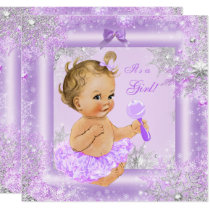 Baby Shower Girl Winter Lavender Snowflake Blonde Card