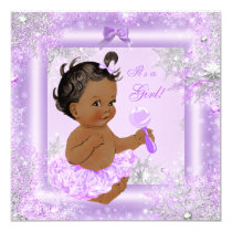 Baby Shower Girl Winter Lavender Snowflake Ethnic Card