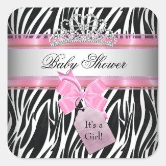 Baby Shower Girl Zebra Pink Princess Black