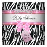 Baby Shower Girl Zebra Pink Princess Black Personalized Invite