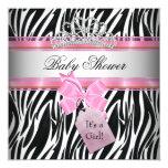 Baby Shower Girl Zebra Pink Princess Black 5.25x5.25 Square Paper Invitation Card