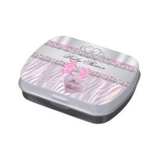 Baby Shower Girl Zebra Pink Princess party Favor Jelly Belly Candy Tin