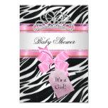Baby Shower Girl Zebra Pink Princess Tiara Card