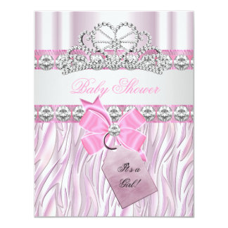 Baby Shower Girl Zebra Pink Princess Tiara Diamond 4.25x5.5 Paper Invitation Card