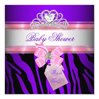 Baby Shower Girl Zebra Pink Purple Princess 5.25x5.25 Square Paper Invitation Card