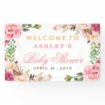 Baby Shower Girly Elegant Chic Pink Floral Banner