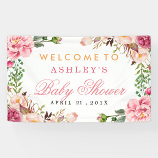 Baby Shower Girly Elegant Chic Pink Floral Banner