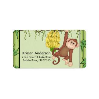 Baby Shower Going Bananas Monkey address Label