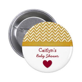 Baby Shower Gold Chevron Print Heart A04a Pinback Button