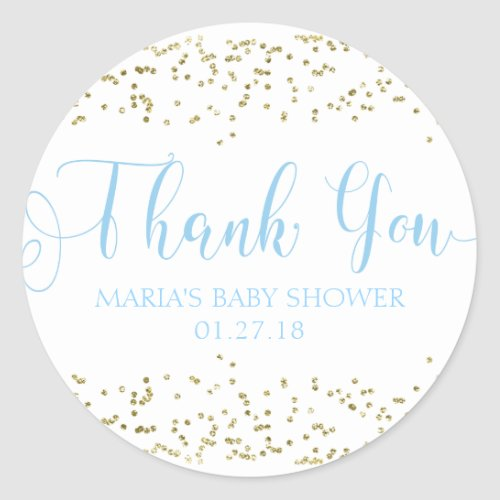 Baby Shower Gold Confetti Blue Favor Thank You Tag