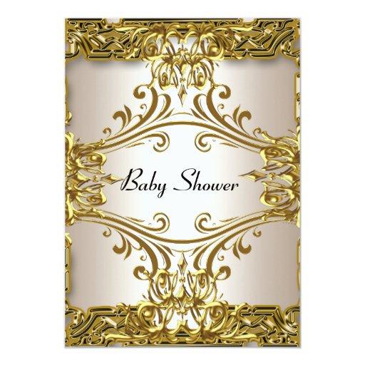 "Baby Shower Gold Cream  Neutral 5"" X 7"" Invitation Card"