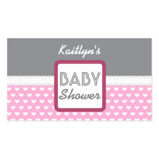 BABY SHOWER Gray with Pink Hearts A02 Double-Sided Standard Business Cards (Pack Of 100)