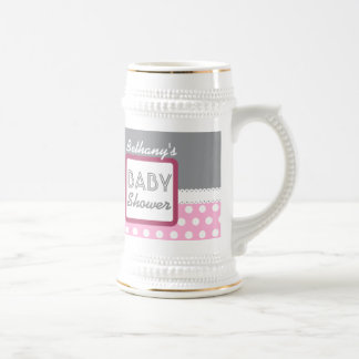 BABY SHOWER Gray with Pink Polka Dots A27 Custom Beer Stein