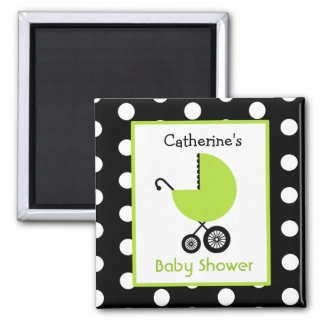 Baby Shower - Green Carriage and Polka Dots 2 Inch Square Magnet
