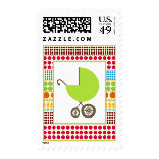 Baby Shower  - Green Carriage & Boho Dots Postage